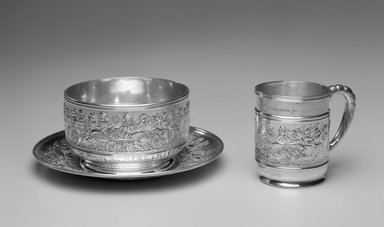 Tiffany & Company (American, founded 1853). <em>Mug</em>, ca. 1905. Silver, 3 1/2 x 4 1/4 x 2 7/8 in. (8.9 x 10.7 x 7.3 cm). Brooklyn Museum, Gift of Mrs. John H. Livingston, 1996.37.4. Creative Commons-BY (Photo: , 1996.37.4_1996.37.5_1996.37.6_bw.jpg)