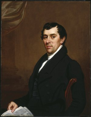 Samuel Lovett Waldo (American, 1783-1861). <em>David Leavitt</em>, ca. 1820-1825. Oil on panel, 33 1/16 x 25 9/16 in. (83.9 x 65 cm). Brooklyn Museum, Gift of Anna S. Delafield, Fisher Howe, Lawrence Howe, and R. Warren Howe in memory of their brother, David Leavitt Howe (1915-1995), 1996.43.1 (Photo: Brooklyn Museum, 1996.43.1_SL1.jpg)