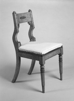 Michel Bouvier (American, born France, 1792-1874). <em>Side Chair</em>, ca. 1825-1830. Maple with gilt metal mounts, 34 3/4 x 18 5/8 x 19 5/8 in. (88.3 x 46.0 x 49.9 cm). Brooklyn Museum, Bequest of Marie Bernice Bitzer, by exchange, 1996.4. Creative Commons-BY (Photo: Brooklyn Museum, 1996.4_view1_bw.jpg)