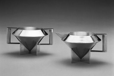 Ilonka Karasz (American, born Hungary, 1896-1981). <em>Creamer</em>, Designed 1928. Electro-plated nickel silver, 3 x 5 1/2 x 4 1/4 in. (7.6 x 14 x 10.8 cm). Brooklyn Museum, Modernism Benefit Fund, 1996.5.1. Creative Commons-BY (Photo: , 1996.5.1_1996.5.2_bw.jpg)