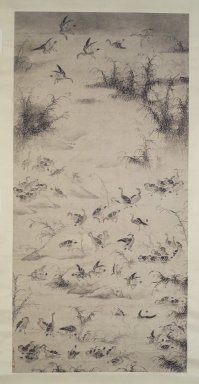 Bian Shoumin (Chinese, 1684-1752). <em>One Hundred Geese</em>, late 17th-early 18th century. Ink on paper, overall: 124 x 49 7/8 in. Brooklyn Museum, Purchased with funds given by Susan L. Beningson, Dr. and Mrs. Richard Dickes, gift of the Asian Art Council and Carll H. de Silver Fund, 1996.66 (Photo: Brooklyn Museum, 1996.66_transp4560.jpg)