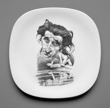 David Levine (American, 1926-2009). <em>Plate</em>, ca. 1978. Porcelain, 7/8 x 10 1/2 x 10 1/2 in. (2.2 x 26.0 x 26.0 cm). Brooklyn Museum, Gift of Mrs. William Liberman, 1996.85.17. Creative Commons-BY (Photo: Brooklyn Museum, 1996.85.17_bw.jpg)
