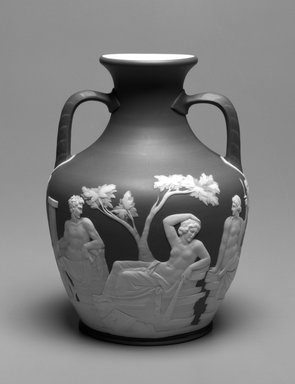 Josiah Wedgwood & Sons Ltd. (founded 1759). <em>Vase</em>, ca. 1801-1900. Tinted stoneware, 10 x 7 1/2 x 7 1/2 in. (25.4 x 19.0 x 19.0 cm). Brooklyn Museum, Gift of Mrs. William Liberman, 1996.85.1. Creative Commons-BY (Photo: Brooklyn Museum, 1996.85.1_bw.jpg)
