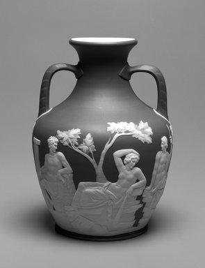 Josiah Wedgwood & Sons Ltd. (founded 1759). <em>Vase</em>, ca. 1801-1900. Tinted stoneware, 10 x 7 1/2 x 7 1/2 in. (25.4 x 19.0 x 19.0 cm). Brooklyn Museum, Gift of Mrs. William Liberman, 1996.85.1. Creative Commons-BY (Photo: Brooklyn Museum, 1996.85.1_bw.jpg)