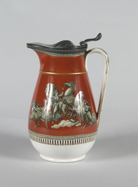 Felix and Richard Pratt & Co.. <em>Covered Pitcher</em>, ca. 1861. Ceramic and white metal, 7 3/8 x 6 1/2 x 6 1/4 in. (18.7 x 16.5 x 15.8 cm). Brooklyn Museum, Gift of Mrs. William Liberman, 1996.85.20. Creative Commons-BY (Photo: Brooklyn Museum, 1996.85.20_PS5.jpg)