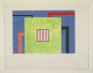 Peter Halley (American, born 1953). <em>Untitled</em>, 1989. Gouache on graph paper, 18 x 22 1/2 in. Brooklyn Museum, Gift from the Collection of Estelle Schwartz, 1996.92.1. © artist or artist's estate (Photo: Brooklyn Museum, 1996.92.1_transpc003.jpg)
