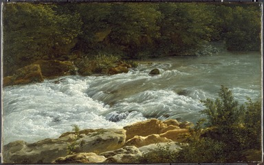 Jean-Joseph-Xavier Bidauld (French, 1758-1846). <em>Running Stream at San Cosimato</em>, 1788. Oil on paper laid down on canvas, 12 1/4 x 19 5/8 in. (31.1 x 49.8 cm). Brooklyn Museum, A. Augustus Healy Fund and Healy Purchase Fund B, 1996.93 (Photo: Brooklyn Museum, 1996.93_SL3.jpg)