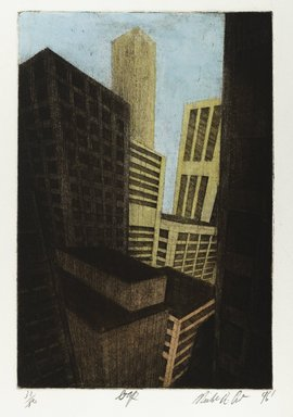 Michael di Cerbo (American, born 1947). <em>Gap</em>, 1996. Hand colored etching, Sheet: 19 3/4 x 11 7/8 in. (50.1 x 30.1 cm). Brooklyn Museum, Gift of the artist, 1996.95.1. © artist or artist's estate (Photo: Brooklyn Museum, 1996.95.1_PS4.jpg)