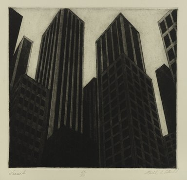 Michael di Cerbo (American, born 1947). <em>Pinnacles</em>, 1987. Etching on cream wove paper, Sheet: 37 11/16 x 38 7/8 in. (95.8 x 98.8 cm). Brooklyn Museum, Gift of the artist, 1996.95.2. © artist or artist's estate (Photo: Brooklyn Museum, 1996.95.2_PS4.jpg)