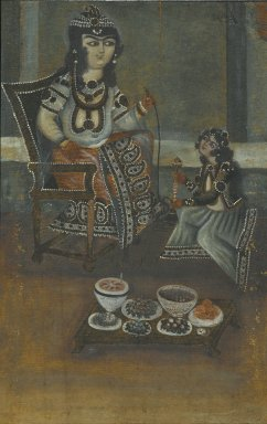 <em>Female Attendant Offering a Waterpipe to a Princess Seated on a Throne</em>, 19th century. Oil on canvas, mounted on panel, 18 1/2 x 11 7/8 in. Brooklyn Museum, Bequest of Irma B. Wilkinson in memory of her husband, Charles K. Wilkinson, 1997.108.11 (Photo: Brooklyn Museum, 1997.108.11_PS1.jpg)