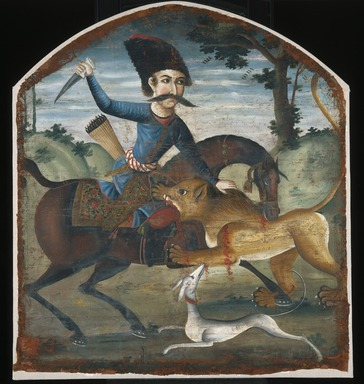 <em>Hunter on Horseback Attacked by a Lion</em>, mid 18th century. Oil on canvas, 37 1/2 x 34 in. (95.3 x 86.4 cm). Brooklyn Museum, Bequest of Irma B. Wilkinson in memory of her husband, Charles K. Wilkinson, 1997.108.1 (Photo: Brooklyn Museum, 1997.108.1_IMLS_SL2.jpg)