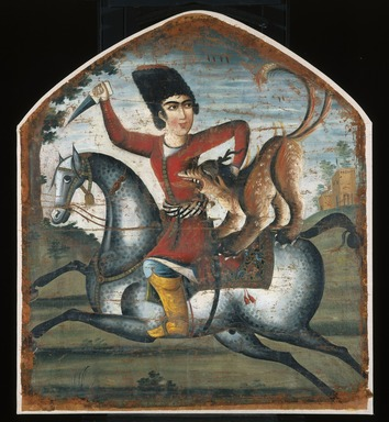 <em>Hunter on Horseback Attacked by a Mythical Beast</em>, mid 18th century. Oil on canvas, 37 1/2 x 34 in. (95.3 x 86.4 cm). Brooklyn Museum, Bequest of Irma B. Wilkinson in memory of her husband, Charles K. Wilkinson, 1997.108.2 (Photo: Brooklyn Museum, 1997.108.2_IMLS_SL2.jpg)