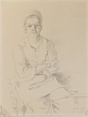 Charles K. Wilkinson. <em>Image of a Young Boy</em>, 1922. Pencil on paper, image: 12 x 9 in. (30.5 x 22.9 cm). Brooklyn Museum, Gift of the executors of the Estate of Irma B. Wilkinson, 1997.109.1 (Photo: Brooklyn Museum, 1997.109.1_IMLS_PS3.jpg)