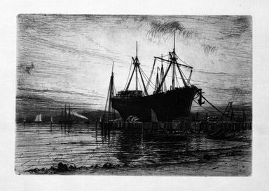 Henry Farrer (American, 1843-1903). <em>Sunset, Gowanus Bay</em>, 1880. Etching on beige Japan laid paper, sheet: 8 x 11 11/16 in. (20.4 x 27.0 cm). Brooklyn Museum, Emily Winthrop Miles Fund, 1997.126.1 (Photo: Brooklyn Museum, 1997.126.1_bw.jpg)