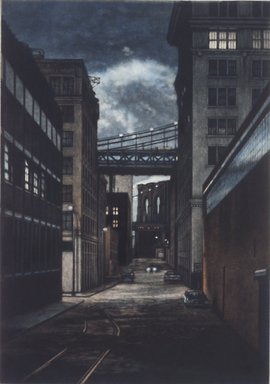 Frederick Mershimer (American, born 1958). <em>Plymouth Street</em>, 1990. Mezzotint on paper, sheet: 13 1/16 x 9 7/8 in. (33.2 x 25.1 cm). Brooklyn Museum, Gift of the Estate of John Halverson, 1997.128.1. © artist or artist's estate (Photo: Brooklyn Museum, 1997.128.1.jpg)