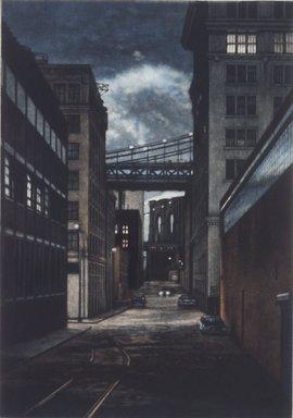 Frederick Mershimer (American, born 1958). <em>Plymouth Street</em>, 1990. Mezzotint on paper, sheet: 13 1/16 x 9 7/8 in. (33.2 x 25.1 cm). Brooklyn Museum, Gift of the Estate of John Halverson, 1997.128.1. © artist or artist's estate (Photo: Brooklyn Museum, 1997.128.1.jpg)