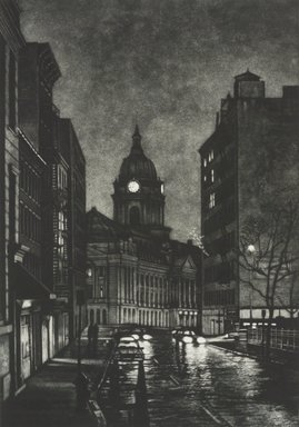 Frederick Mershimer (American, born 1958). <em>Cleveland Place</em>, 1990. Mezzotint on paper, sheet: 14 9/16 x 11 1/16 in. (37.0 x 28.1 cm). Brooklyn Museum, Gift of the Estate of John Halverson, 1997.128.2. © artist or artist's estate (Photo: Brooklyn Museum, 1997.128.2.jpg)
