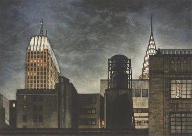Frederick Mershimer (American, born 1958). <em>Rivals</em>, 1993. Mezzotint on paper, sheet: 12 x 14 1/2 in. (30.6 x 36.9 cm). Brooklyn Museum, Gift of the Estate of John Halverson, 1997.128.3. © artist or artist's estate (Photo: Brooklyn Museum, 1997.128.3.jpg)