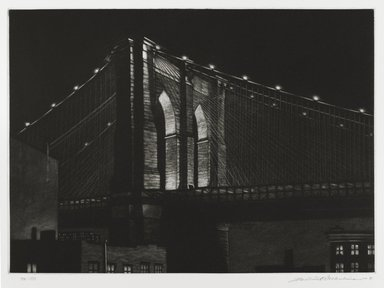 Frederick Mershimer (American, born 1958). <em>[Untitled] (Brooklyn Bridge)</em>, 1985. Mezzotint on paper, sheet: 14 13/16 x 19 3/8 in. (37.6 x 49.2 cm). Brooklyn Museum, Gift of the Estate of John Halverson, 1997.128.4. © artist or artist's estate (Photo: Brooklyn Museum, 1997.128.4_PS4.jpg)
