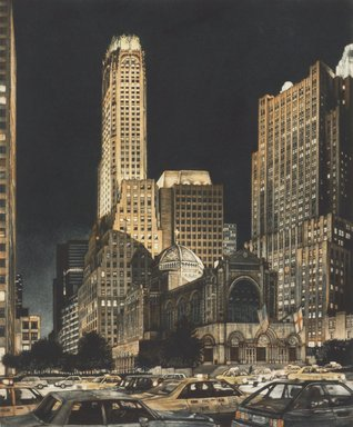 Frederick Mershimer (American, born 1958). <em>Ascension</em>, 1993. Mezzotint on paper, sheet: 17 11/16 x 15 1/8 in. (44.9 x 38.4 cm). Brooklyn Museum, Gift of the Estate of John Halverson, 1997.128.5. © artist or artist's estate (Photo: Brooklyn Museum, 1997.128.5.jpg)