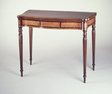Unknown. <em>Card Table</em>, ca. 1800. Mahogany, birdseye maple veneer and wood inlay, white pine, 29 1/2 x 36 1/4 x 117 3/4 in. (73.9 x 92.7 x 45.8 cm). Brooklyn Museum, Matthew Scott Sloan Collection, Gift of Lidie Lane Sloan McBurney, 1997.150.14. Creative Commons-BY (Photo: Brooklyn Museum, 1997.150.14_transp688.jpg)