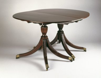 Attributed to Duncan Phyfe (American, born Scotland, 1768-1854). <em>Dining Table</em>, ca. 1805. Mahogany; beech, 29 1/2 x 48 x 78 in.  (74.9 x 121.9 x 198.1 cm). Brooklyn Museum, Matthew Scott Sloan Collection, Gift of Lidie Lane Sloan McBurney, 1997.150.15a-c. Creative Commons-BY (Photo: Brooklyn Museum, 1997.150.15a-c_IMLS_SL2.jpg)