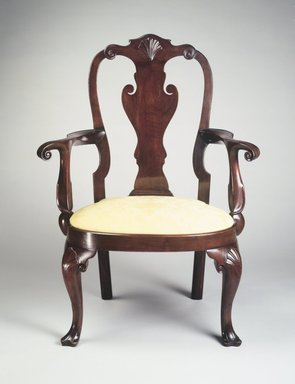 William Savery (American, 1721-1787). <em>Armchair</em>, ca. 1760. Walnut, yellow pine, modern upholstery, 42 1/2 x 31 x 21 in. (107.95 x 78.74 x 53.34 cm). Brooklyn Museum, Matthew Scott Sloan Collection, Gift of Lidie Lane Sloan McBurney, 1997.150.1a-b. Creative Commons-BY (Photo: Brooklyn Museum, 1997.150.1_transp687.jpg)