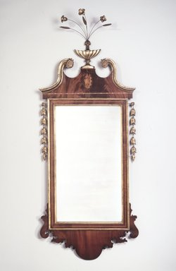<em>Looking Glass</em>, ca. 1785-1810. Mahogany, white pine, gilt, 58 x 23.75 x 7 in.  (147.3 x 60.3 x 17.8 cm). Brooklyn Museum, Matthew Scott Sloan Collection, Gift of Lidie Lane Sloan McBurney, 1997.150.24. Creative Commons-BY (Photo: Brooklyn Museum, 1997.150.24_transp697.jpg)