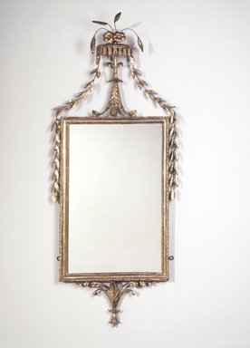 <em>Looking Glass</em>, ca. 1768-1800. White pine, gilt, gesso, 46 x 18 x 4 in.  (116.8 x 45.7 x 10.2 cm). Brooklyn Museum, Matthew Scott Sloan Collection, Gift of Lidie Lane Sloan McBurney, 1997.150.25. Creative Commons-BY (Photo: Brooklyn Museum, 1997.150.25_transp698.jpg)