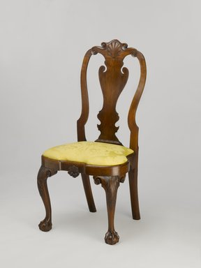<em>Side Chair</em>, ca. 1730. Cherry and tulip poplar with modern upholstery, 42.4 x 21 x 19.25 in.  (107.7 x 53.3 x 48.9 cm). Brooklyn Museum, Matthew Scott Sloan Collection, Gift of Lidie Lane Sloan McBurney, 1997.150.2a-b. Creative Commons-BY (Photo: Brooklyn Museum, 1997.150.2a-b_PS6.jpg)