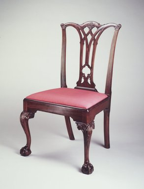 <em>Side Chair</em>, ca. 1780. Mahogany, yellow pine, modern upholstery, 39 x 23 1/2 x 21 in. (99.0 x 59.6 x 53.3 cm). Brooklyn Museum, Matthew Scott Sloan Collection, Gift of Lidie Lane Sloan McBurney, 1997.150.4. Creative Commons-BY (Photo: Brooklyn Museum, 1997.150.4_transp700.jpg)