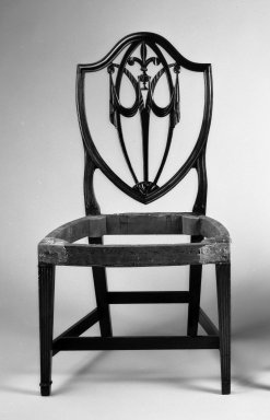 <em>Side Chair</em>, ca. 1800. Mahogany, cherry, ash, brass tacks, 39 1/4 x 21 1/4 x 18 1/2 in. (99.69 x 53.97 x 46.99 cm). Brooklyn Museum, Matthew Scott Sloan Collection, Gift of Lidie Lane Sloan McBurney, 1997.150.6. Creative Commons-BY (Photo: Brooklyn Museum, 1997.150.6_bw_IMLS.jpg)