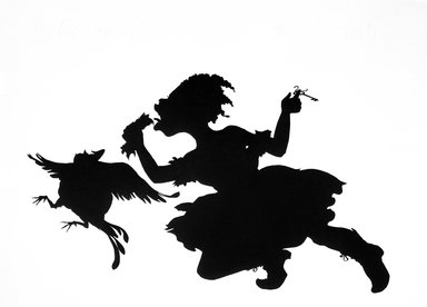 Kara Walker (American, born 1969). <em>Keys to the Coop</em>, 1997. Linocut on paper, 46 1/4 x 60 1/2 in. (117.5 x 153.7 cm). Brooklyn Museum, Robert A. Levinson Fund, 1997.152. © artist or artist's estate (Photo: Brooklyn Museum, 1997.152_SL3.jpg)
