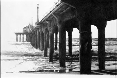 Len Paschoal. <em>Pier Series #2</em>, 1996. Graphite, sight: 6 1/2 x 10 3/8 in. (16.5 x 26.4 cm). Brooklyn Museum, Emily Winthrop Miles Fund, 1997.15. © artist or artist's estate (Photo: Brooklyn Museum, 1997.15_bw.jpg)