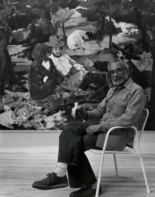 Arthur Mones (American, 1919-1998). <em>Robert Colescott</em>, 1981. Gelatin silver photograph, sheet: 14 x 10 3/4 in. (35.6 x 27.2 cm). Brooklyn Museum, Gift of the artist, 1997.162.14. © artist or artist's estate (Photo: Brooklyn Museum, 1997.162.14_PS4.jpg)
