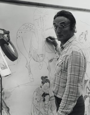 Arthur Mones (American, 1919-1998). <em>Larry Rivers</em>, 1980. Gelatin silver photograph, sheet: 14 x 10 3/4 in. (35.6 x 27.2 cm). Brooklyn Museum, Gift of the artist, 1997.162.15. © artist or artist's estate (Photo: Brooklyn Museum, 1997.162.15_PS4.jpg)