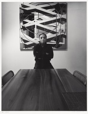 Arthur Mones (American, 1919-1998). <em>Al Held</em>, 1979. Gelatin silver photograph, sheet: 14 x 10 3/4 in. (35.6 x 27.2 cm). Brooklyn Museum, Gift of the artist, 1997.162.16. © artist or artist's estate (Photo: Brooklyn Museum, 1997.162.16_PS9.jpg)