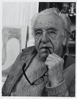 Arthur Mones (American, 1919-1998). <em>Adja Yunkers</em>, 1983. Gelatin silver photograph, sheet: 14 x 10 3/4 in. (35.6 x 27.2 cm). Brooklyn Museum, Gift of the artist, 1997.162.17. © artist or artist's estate (Photo: Brooklyn Museum, 1997.162.17_PS4.jpg)