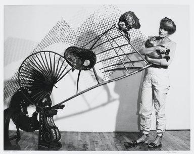 Arthur Mones (American, 1919-1998). <em>Nancy Graves</em>, 1989. Gelatin silver photograph, sheet: 10 3/4 x 14 in. (27.2 x 35.6 cm). Brooklyn Museum, Gift of the artist, 1997.162.18. © artist or artist's estate (Photo: Brooklyn Museum, 1997.162.18_PS4.jpg)