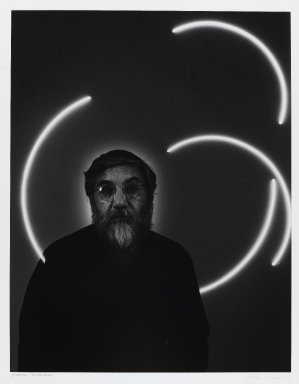 Arthur Mones (American, 1919-1998). <em>Stephen Antonakos</em>, 1979. Gelatin silver photograph, sheet: 14 x 10 3/4 in. (35.6 x 27.2 cm). Brooklyn Museum, Gift of the artist, 1997.162.8. © artist or artist's estate (Photo: Brooklyn Museum, 1997.162.8_PS4.jpg)