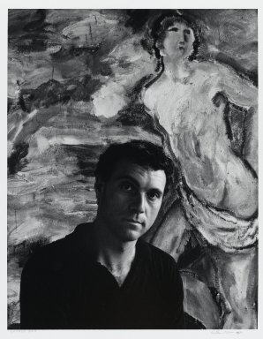 Arthur Mones (American, 1919-1998). <em>Sandro Chia</em>, 1983. Gelatin silver photograph, sheet: 14 x 10 3/4 in. (35.6 x 27.2 cm). Brooklyn Museum, Gift of the artist, 1997.162.9. © artist or artist's estate (Photo: Brooklyn Museum, 1997.162.9_PS4.jpg)