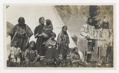 Unknown. <em>[Untitled] (Family Group of Two Men, Two Women, and Five Girls)</em>, ca. 1900. Gelatin silver photograph, 5 1/4 x 3 1/8 in. (13.3 x 8.0 cm). Brooklyn Museum, Gift of Sasha Nyary and Family, 1997.163.10 (Photo: Brooklyn Museum, 1997.163.10_PS2.jpg)