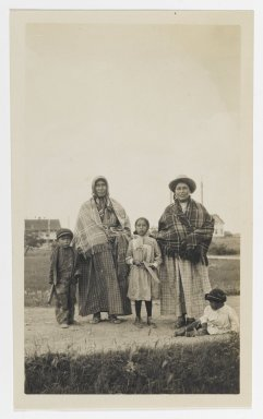 Unknown. <em>[Untitled] (Two Women Standing near Three Children)</em>, ca. 1900. Gelatin silver photograph, 2 1/4 x 3 7/8 in. (5.7 x 9.6 cm). Brooklyn Museum, Gift of Sasha Nyary and Family, 1997.163.14 (Photo: Brooklyn Museum, 1997.163.14_PS2.jpg)