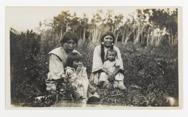 Unknown. <em>[Untitled] (Two Women with Children Sitting in a Field)</em>, ca. 1900. Gelatin silver photograph, 5 1/4 x 3 1/8 in. (13.3 x 8.0 cm). Brooklyn Museum, Gift of Sasha Nyary and Family, 1997.163.4 (Photo: Brooklyn Museum, 1997.163.4_PS2.jpg)
