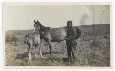 Unknown. <em>[Untitled] (Man Standing by a Mare and Two Foals)</em>, ca. 1900. Gelatin silver photograph, 5 1/4 x 3 1/8 in. (13.3 x 8.0 cm). Brooklyn Museum, Gift of Sasha Nyary and Family, 1997.163.6 (Photo: Brooklyn Museum, 1997.163.6_PS2.jpg)
