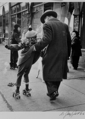 N. Jay Jaffee (American, 1921-1999). <em>Girl Learning to Skate (Livonia Avenue, East New York)</em>, 1950; printed 1995. Selenium-toned gelatin silver photograph, image: 6 x 5 in. (15.2 x 12.7 cm). Brooklyn Museum, Gift of Paula W. Hackeling, 1997.164.20. © artist or artist's estate (Photo: Brooklyn Museum, 1997.164.20_bw.jpg)