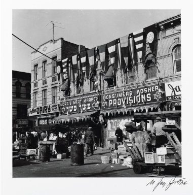 N. Jay Jaffee (American, 1921-1999). <em>Morris Meat Market (Blake Avenue)</em>, 1950; printed 1994. Selenium-toned gelatin silver photograph, image: 5 1/4 x 5 5/16 in. (13.3 x 13.5 cm). Brooklyn Museum, Gift of Paula W. Hackeling, 1997.164.22. © artist or artist's estate (Photo: Brooklyn Museum, 1997.164.22_PS2.jpg)