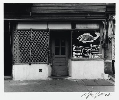 N. Jay Jaffee (American, 1921-1999). <em>Fish Market Storefront (Blake Avenue)</em>, 1951; printed 1995. Selenium-toned gelatin silver photograph, image: 4 3/8 x 5 7/16 in. (11.1 x 13.8 cm). Brooklyn Museum, Gift of Paula W. Hackeling, 1997.164.28. © artist or artist's estate (Photo: Brooklyn Museum, 1997.164.28_PS2.jpg)