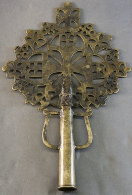 Amhara. <em>Processional Cross (qäqwami mäsqäl)</em>, 19th century?. Copper alloy, 12 x 7 3/4 in. (30.5 x 19.7 cm). Brooklyn Museum, Gift of Nicolas Fries, 1997.168.2. Creative Commons-BY (Photo: Brooklyn Museum, 1997.168.2_front_PS10.jpg)
