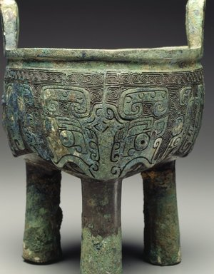 <em>Ritual Tripod Vessel (Ding)</em>, 12th-11th century B.C.E. Cast bronze with inlay, 8 7/16 x 6 7/16 x 6 3/8 in. (21.4 x 16.4 x 16.2cm). Brooklyn Museum, Anonymous gift, 1997.178. Creative Commons-BY (Photo: Brooklyn Museum, 1997.178_SL4.jpg)